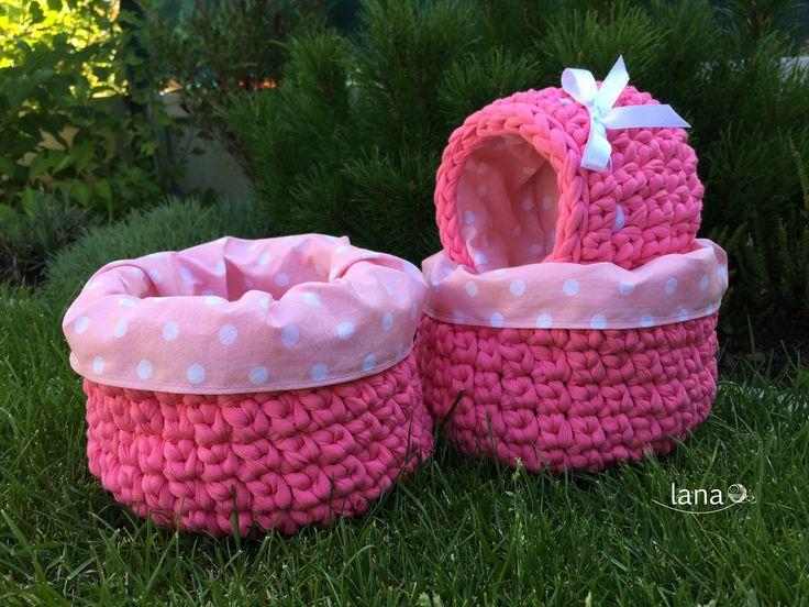Háčkovaný košík s látkovým vnútrom / Crochet basket with fabric inside - free tutorial