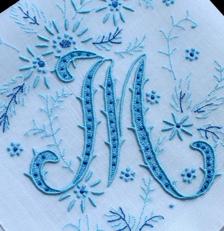 Best hand embroidered monograms images on pinterest