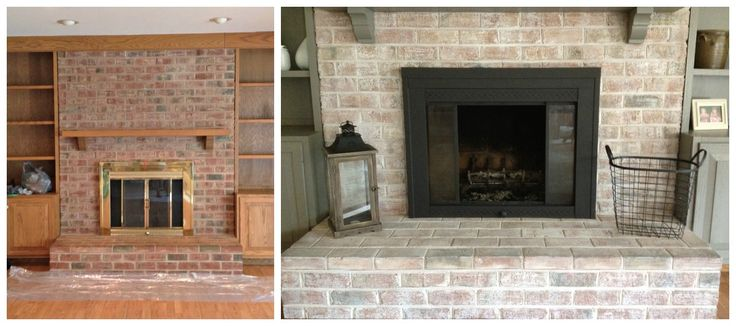 living rom with red brick fire place | After whitewashing and painting the shelves and mantle, it was time to ...