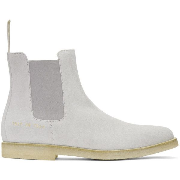 Common Projects Grey Suede Chelsea Boots ($215) ❤ liked on Polyvore featuring men's fashion, men's shoes, men's boots, grey, mens gray suede shoes, mens grey suede boots, mens grey boots, mens grey suede shoes and common projects men's shoes