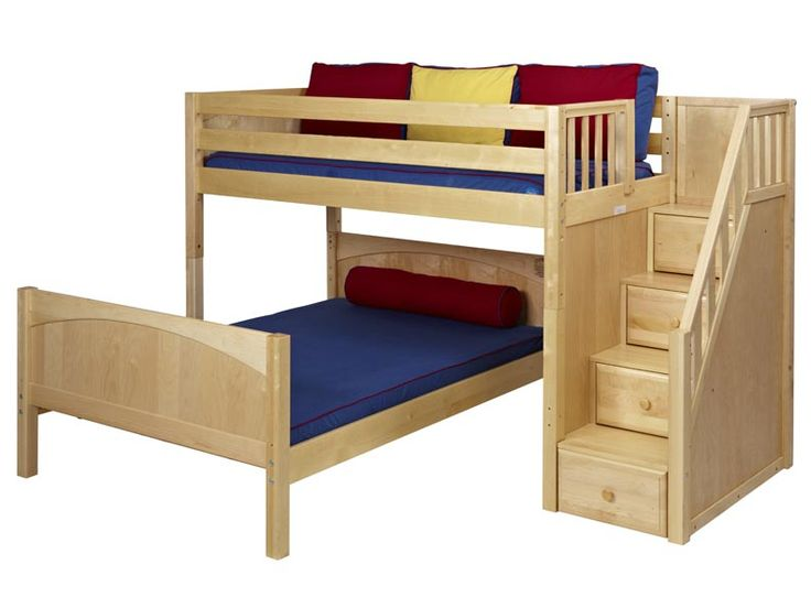 Wiggle Mid Height L Shaped Loft Bed With Stairs 2 115 00