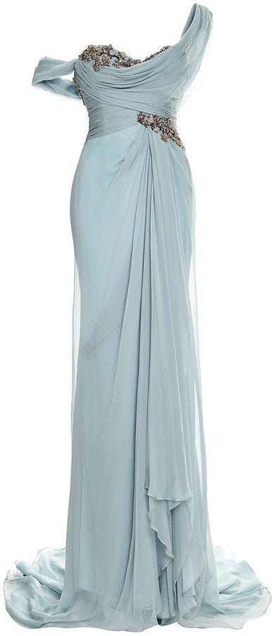 Shop for Embroidered One-Shoulder Chiffon Gown by Marchesa at ShopStyle. Now for Sold Out.