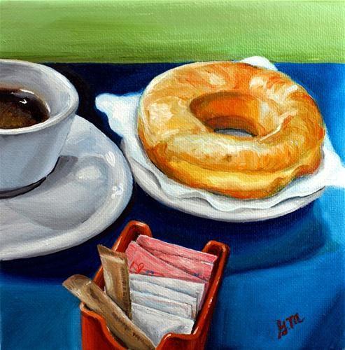 """""""coffee and donuts"""" - Original Fine Art for Sale - © Gretchen Matta"""