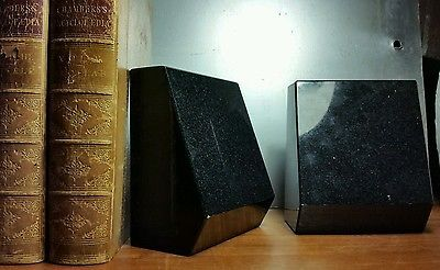 Heavy black striking reflective bold geometric sparkle stone bookends set of 2