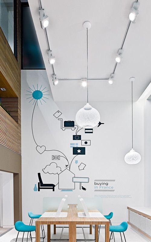 Vergaderruimte met blauwe accenten. Met deze muurschildering krijgt de vergaderruimte een persoonlijk accent.