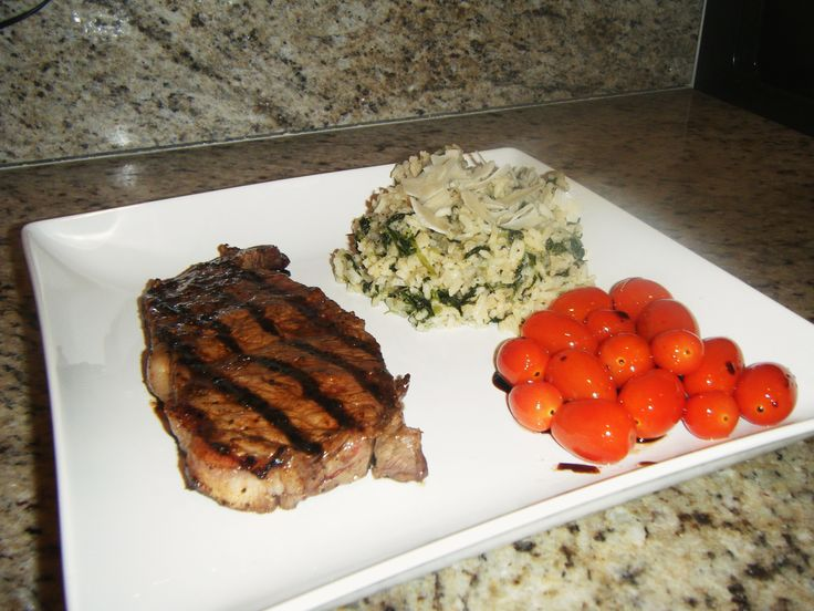 NY Strip Steak with Spinach Risotto and Sauteed Grape Tomatoes