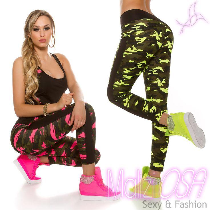 Leggings Pantaloni Donna Mimetici Militare Camouflage Fluo Fuseaux Palestra Moda