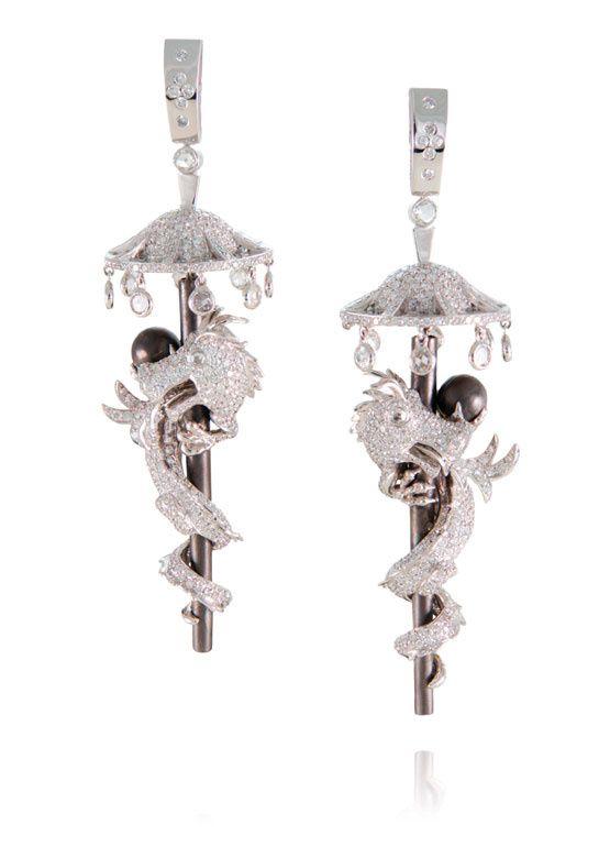 Lydia Courteille Boucles d'oreilles en diamants, perles et or