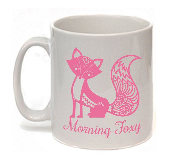 Fox Mug Pink Fox Morning Foxy Statement Mug Animal by missbohemia