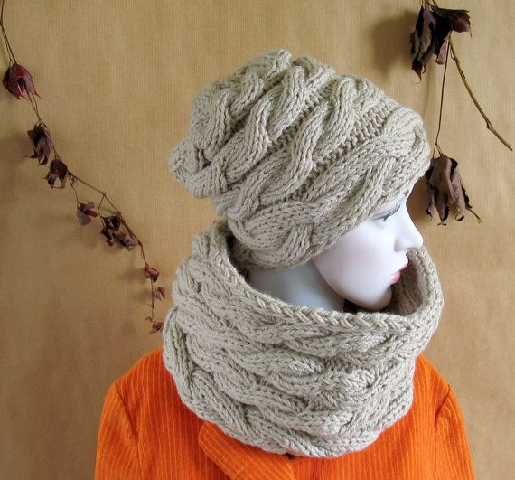 Winter Chunky Cowl Scarf Hood Shawl  Hat In by recyclingroom