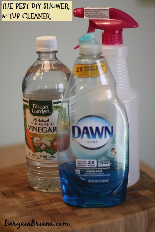 The Best Homemade Shower and Tub Cleaner Double or Triple this recipe for a larger tub or shower!  Ingredients  1/2 cup vinegar 1/2 cup Dawn detergent - blue bottle spray bottle Instructions  Warm vinegar in microwave for 90 seconds. Combine vinegar and Dawn in spray bottle. Spray on your shower or tub. Let sit for 1-2 hours.  Wipe clean.