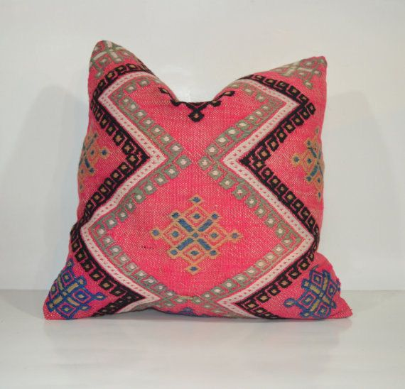 Hey, I found this really awesome Etsy listing at https://www.etsy.com/listing/178468132/pink-decorative-throw-pillow-kilim