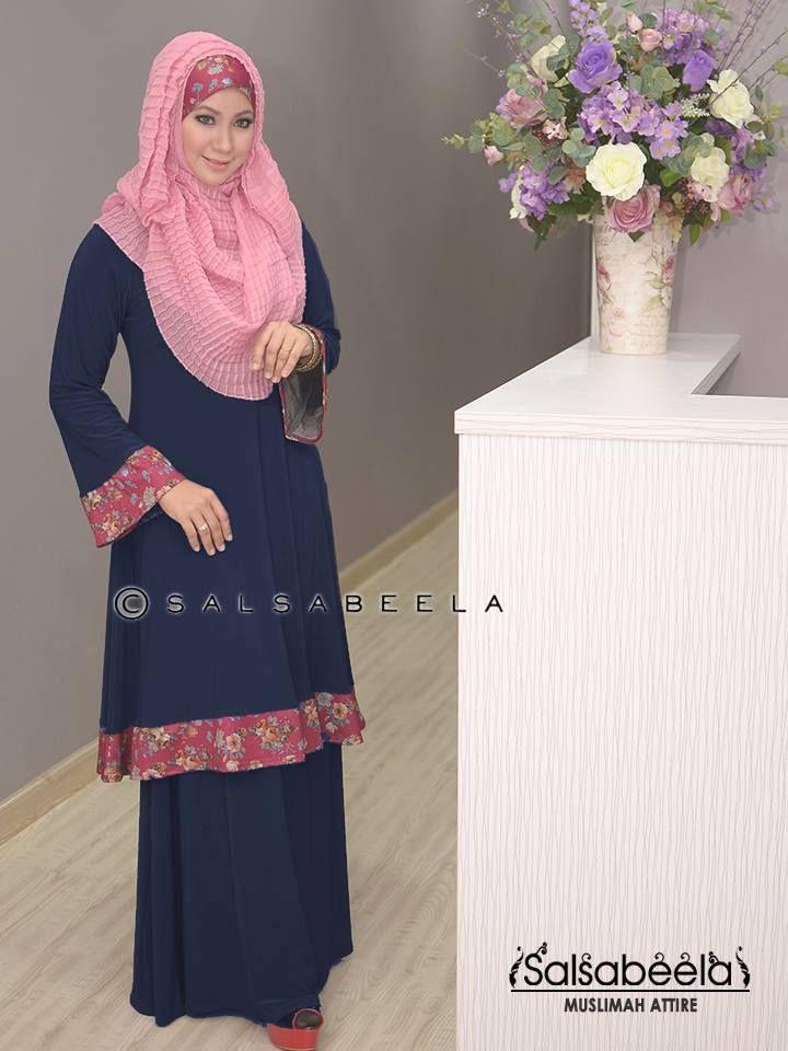 Muslimah Dark Blue Floral Baju Kurung Pahang