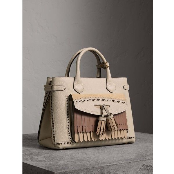 Burberry The Medium Banner in Leather with Fringed Pocket (247275 RSD) ❤ liked on Polyvore featuring bags, handbags, tassel handbags, fringe handbags, genuine leather handbags, burberry purses and leather tassel purse