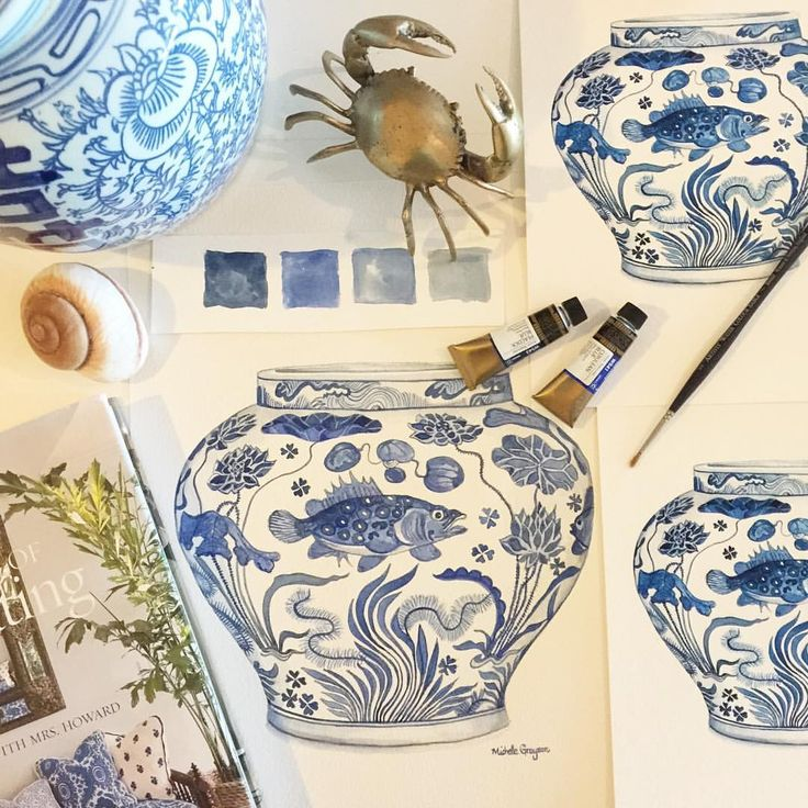 Blue and white prints. Blue and white ginger jar Blue and white ming jar Blue and white fish jar  Blue and white art Blue and white nautical art Blue and white beach art Blue and white coral Blue and white seaweed