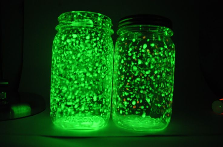 Rechargeable glow jars. These are made with glow-in-the-dark paint rather than glow sticks, so they're safer and they can be reused. I'm thinking about figuring out a way to do this with some of the old bottles I'm collecting.