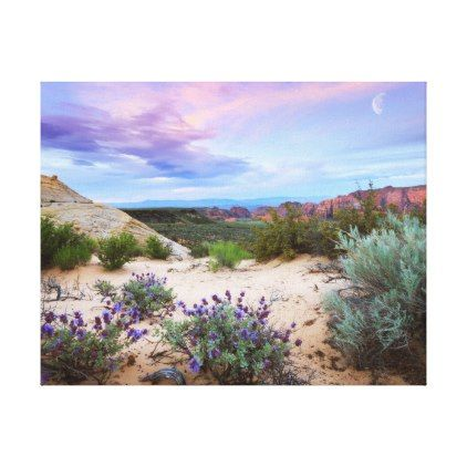 Snow Canyon Sunrise Wildflowers Landscape Photo Canvas Print - photos gifts image diy customize gift idea