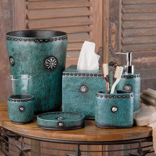 Tooled turquoise bath essentials set and the rest of for Bathroom essentials set