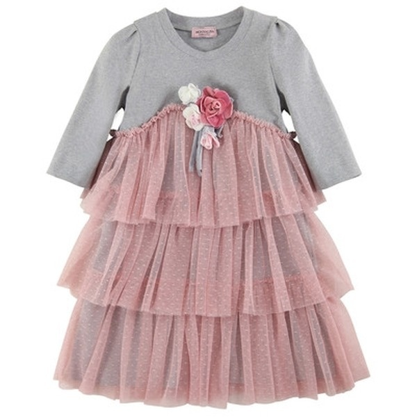 Monnalisa  Kleid - Mehrfarbig MONNALISA - exklusive kindermode mädchen    Nice dress made of heather grey stretch jersey with light pink dotted tulle flounces. Round neck and 3/4 sleeves. Velvet flowers on the chest.