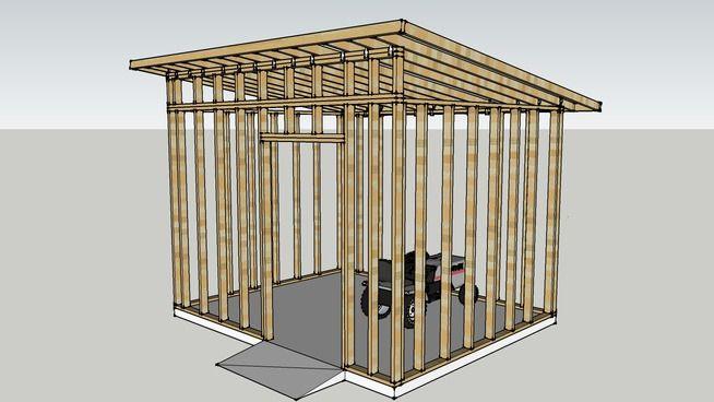 Modern Shed Framing Structure On 12x10 Concrete Slab