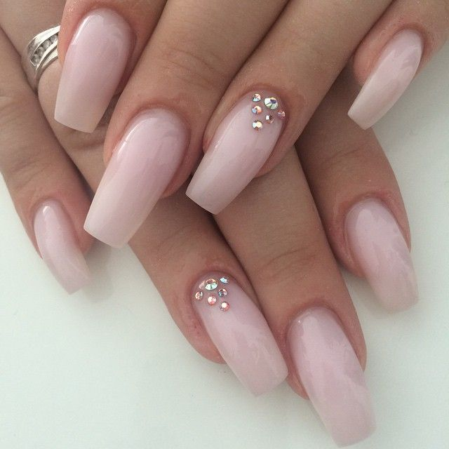 Gabi posted on Pinterest - Blush Pink Coffin Nails with Rhinestone accents. Long nails are elegant. Love Love Love #nail #nailart