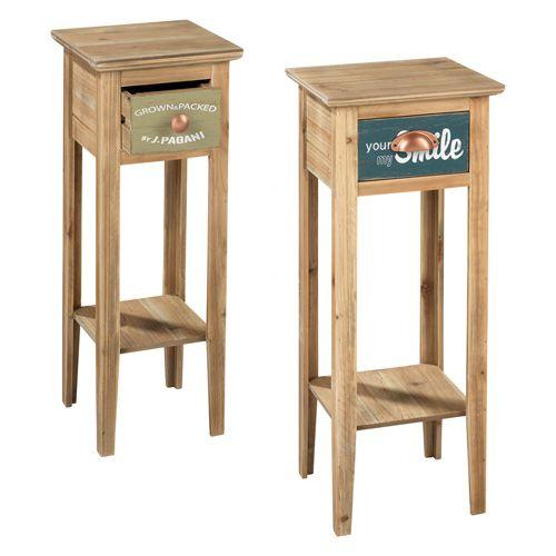 SET 2 MOBILETTI O1299 - set di due mobiletti / portavaso in legno - set of 2 wooden pot holders - www.mascagnicasa.it