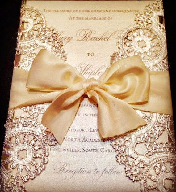 Romantic metallic gold doily invitation by CratedBashBoutique
