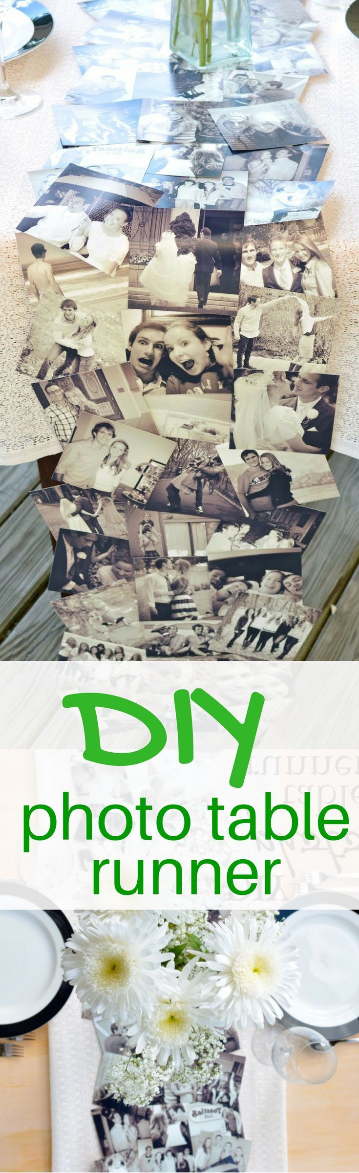 This cute DIY photo runner is perfect for a rehearsal dinner or welcome table!