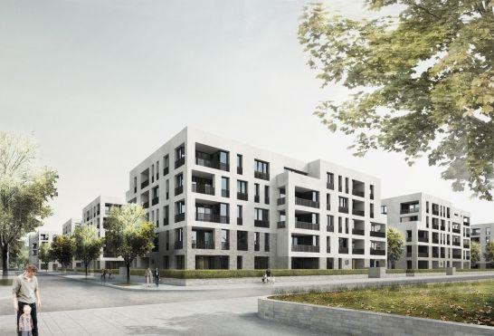 3. Preis, Bebauung Ensemble Kopf Kätcheslachpark, Frankfurt, LÉON WOHLHAGE WERNIK, Perspektive Stadthäuser