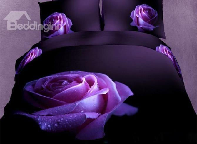 Charming Big Dewy Purple Rose Ptint 3D Duvet Cover Sets