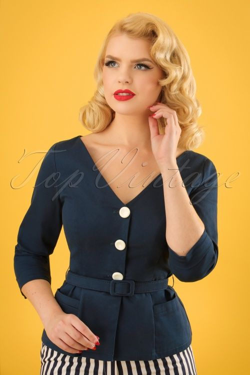 Collectif Clothing Charlotte Jacket Navy 22533 20171122 0011w