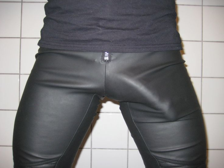 Leather man pants bulge