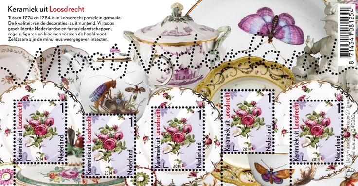Op elk van de vijf identieke postzegels keramiek uit Loosdrecht staat een detail van een van de borden van Loosdrechts porselein die op het postzegelvel zijn afgebeeld: een tak met rozerode rozen en groene blaadjes. Op drie van de vijf postzegels bevindt dat detail zich op exact dezelfde positie als op het bord dat erachter schuilgaat.  http://collectclub.postnl.nl/pages/detail/s1/10220000002025-2-21010000000080.aspx