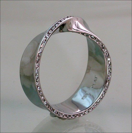 Diamond Set Mobius Platinum Ring  by Phillip Schmidt  Platinumsmith  Melbourne, VIC. Australia