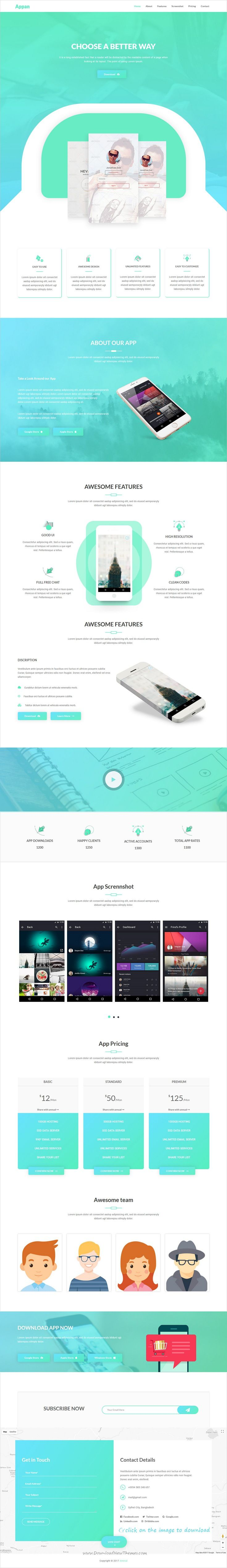 Appan is clean and modern design 4in1 responsive #HTML5 template for creative #app landing page website  to download 👉click on image.