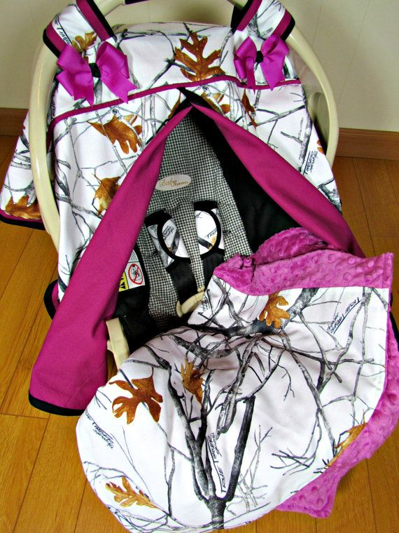 Camo Car Seat Canopy In True Timber Snowfall Camouflage And Fuchsia With Matching Minky Lap Blanket Carseat Strap Covers