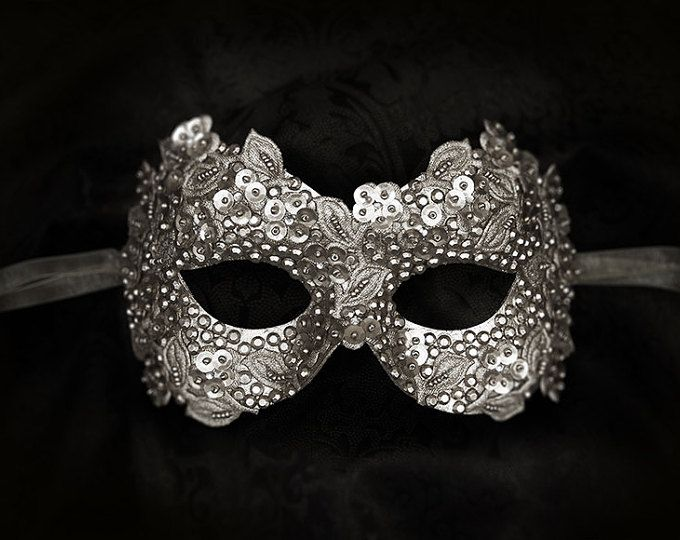 Sequined Silver Masquerade Mask With Rhinestones And Embroidery - Embellished Venetian Style Halloween Mask For Prom, Costume Party, Wedding