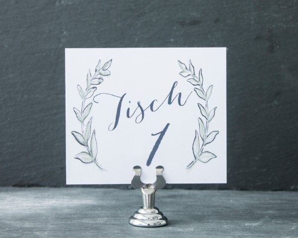 """Handbemalte Tischnummer """"blissful olive"""", Olivenzweige, www.papierhimmel.com"""