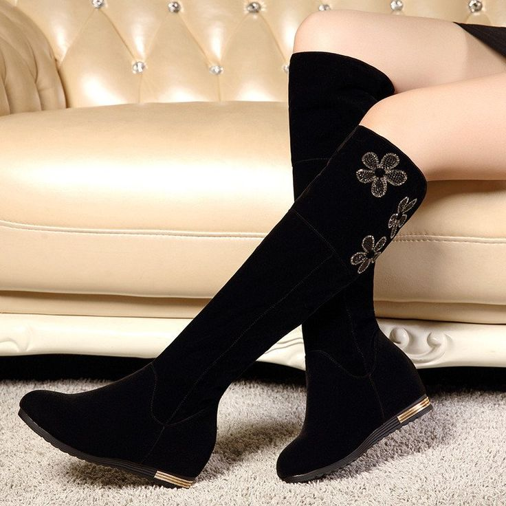 Rhinestone Flower Women Knee High Boots Black Wedges Shoes Woman 2016 3469