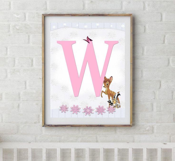 Bambi, Bambi Letters, Letter W, Alphabet Letter W, Bambi Nursery, Baby Initial, Initial Print, Woodland Letter W, Disney Nursery Prints