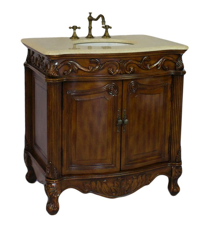 Images Photos Adelina inch Antique Bathroom Vanity Brown Finish