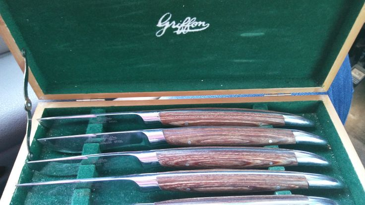 #vintage #German #steak #knives #Griffin with original #case $30 Cash At The Pec Thing May 20 & 21 Beautiful condition.  #midcentury