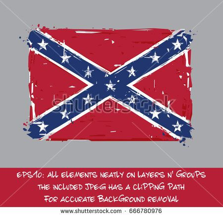 Confederate Rebel Flat Flag - Vector Artistic Brush Strokes and Splashes. Grunge Illustration, all elements neatly on layers and groups. The JPEG has a clipping path for accurate background removal