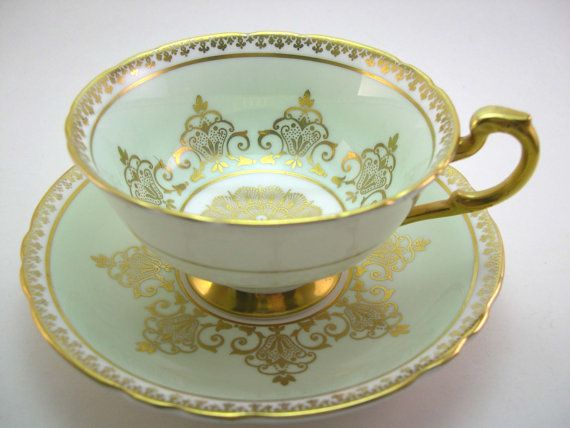 Antique Paragon Tea cup and saucer Mint Green by AntiqueAndCrafts, $47.00