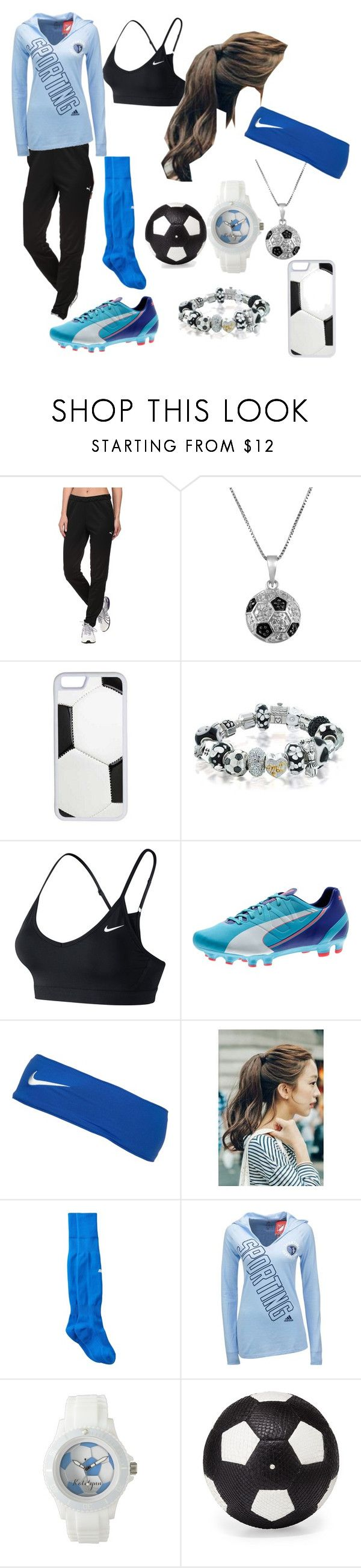 """""""Soccer girl"""" by lovebeingwacky ❤ liked on Polyvore featuring Puma, Jewel Exclusive, CellPowerCases, Bling Jewelry, NIKE, Marlangrouge, adidas and Elisabeth Weinstock"""