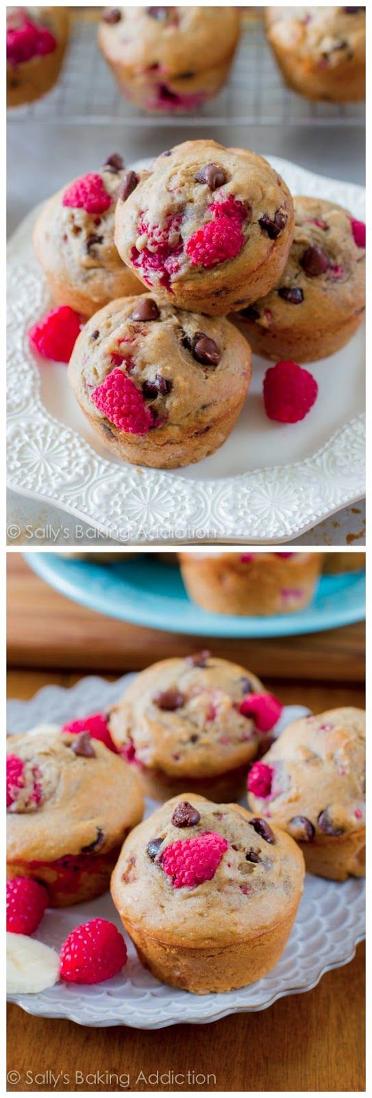 Skinny Raspberry Chocolate Chip Banana Muffins