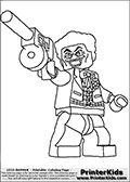 Coloring page with a Lego variant of the DC Comics character called The Joker from the Batman universe. This printable colouring sheet show the Lego Joker character standing with a tommygun in his right hand ready to fire! Print and color this Lego Batman page that is drawn by Loke Hansen (http://www.LokeHansen.com) based on a Lego Batman figure image.