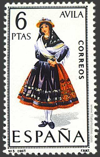 Trajes regionales españoles en sellos AVILA