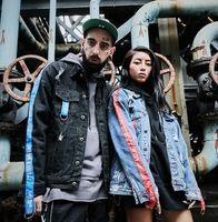 2017 Nueva Chaqueta de Jeans de Moda Hombres/Mujeres Hip Hop Denim Agujeros Jean Escudo Y Chaqueta Para Hombre de la Marca de Ropa de Algodón chaquetas