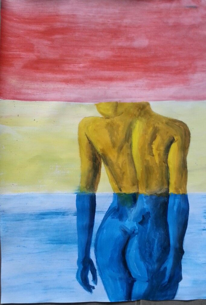 Layered space Triadic colour scheme. Detailed figure.